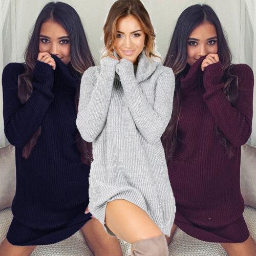 $12.99 - Womens Cowl Neck Loose Long Sleeve Oversize Sweater Jumper Shirt Tops Dress US