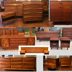 REFINISHED MCM Bedroom Sets, Teak Walnut Dressers from $649
