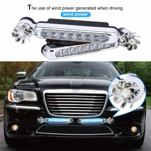 2x Wind Powered 8 LED Car DRL Daytime Running Light Fog Head Lamp Bulbs White 1I