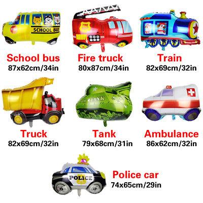Kid Gift Foil Balloon School Cartoon Car Fire Truck Birthday Party Decor Home - Balloon Cars