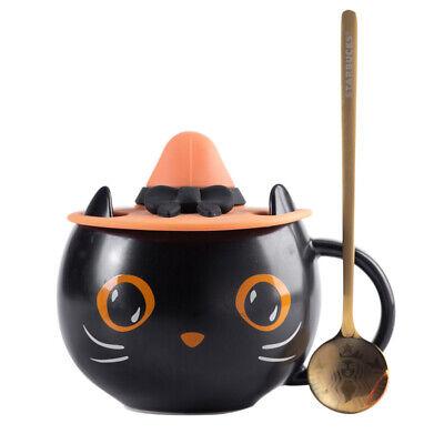 2021 NEW Starbucks Black Cat W/ Cap Lid&Spoon Coffee Mug Cup Hallowmas Good Gift