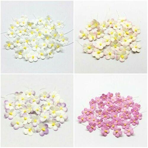200 Mini Daisy Mulberry Paper Flowers 16 mm Wedding Card Scrapbook Craft Art DIY
