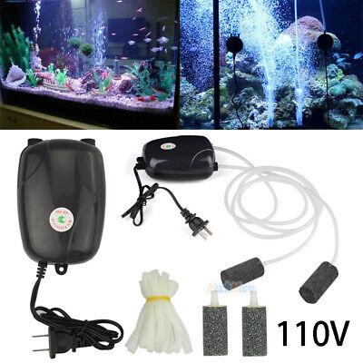 Aquarium Air Pump 2 Outlets 2 Air Bubble Disk Stone Aerator Hydroponic Oxygen US