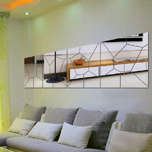 7pcs 3d irregular mirror effect wall stickers art mural