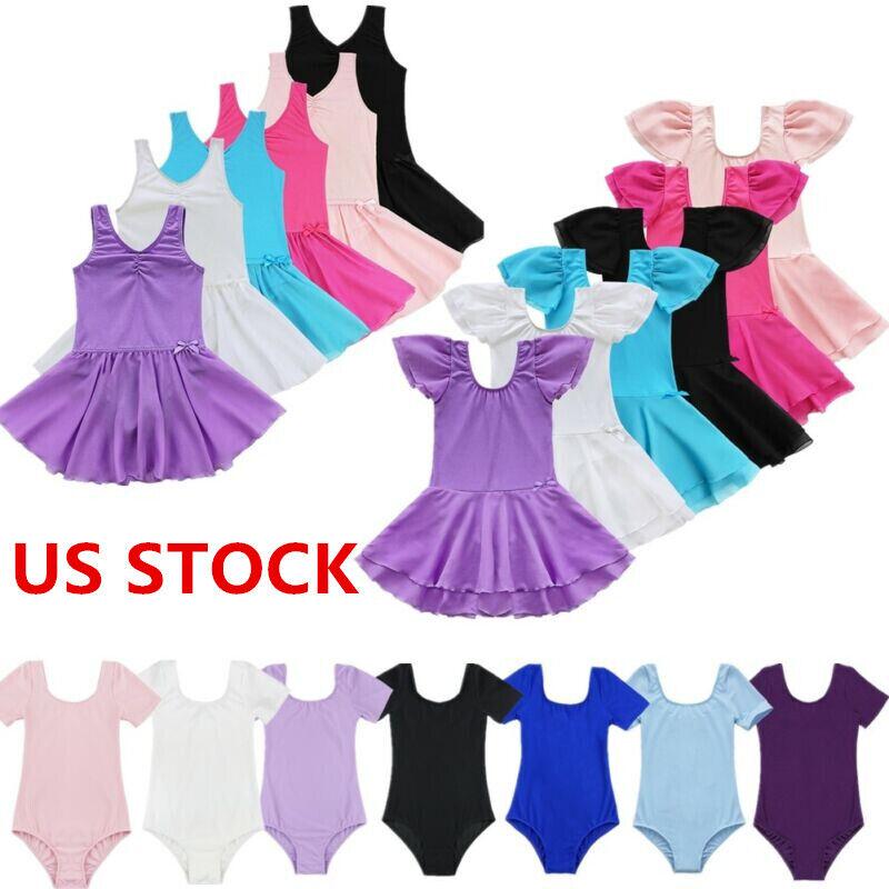 US Toddler Girl Ballet Dance Tutu Dress Gymnastics Leotard D