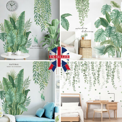 Home Decoration - PVC Tropical Leaves Wall Stickers Decal Nursery Green Plant Art Mural Home Decor