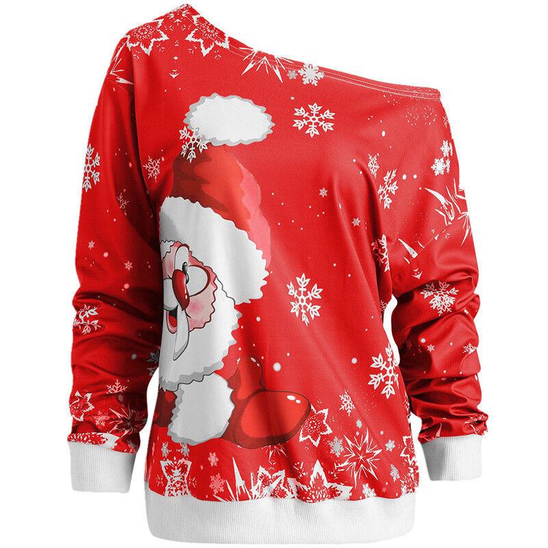 Damen Weihnachten Schulterfrei Sweatshirt Pullover Pulli Weihnachtsmann Bluse DE