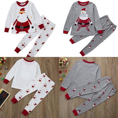 Xmas Toddler Baby Boys Girls Kids Shirt Tops+Long Pants Outfit Set Home Pajamas
