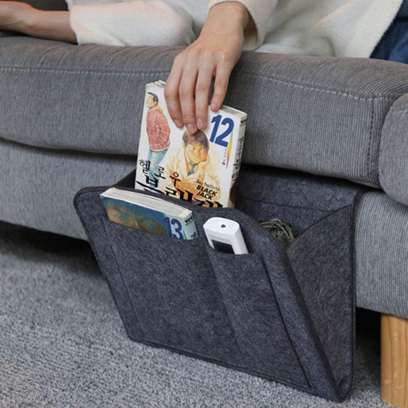 Neu Nachttisch Bett Sofa Aufbewahrung Für Bücher Handyhalter Organizer Tasche DE