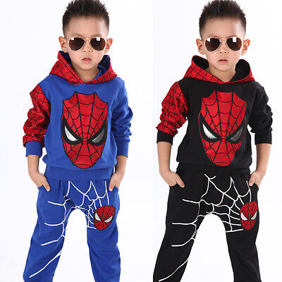 Spiderman Clothes For Boy (2pcs kids baby boy Spider-man tops+pants Outfits&set boy Spring Casual clothes)