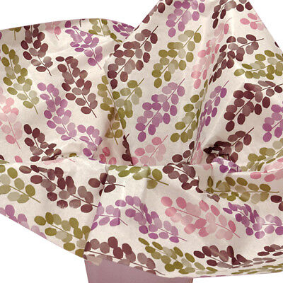 Purple Burgundy Green Leafy Flowers Tissue Paper Gift Wrapping 20