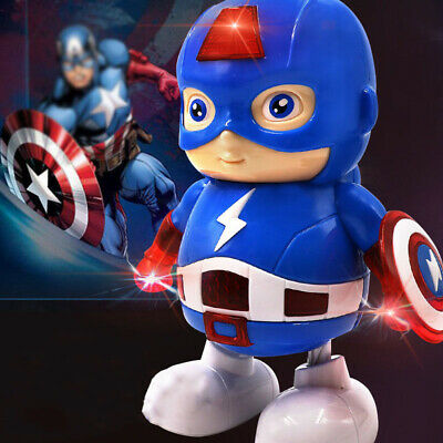 Avengers Action Figure Dancing Hero Captain America Robot With Music Kids Toy US](Kids Captain America)