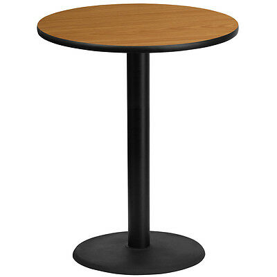 36 Round Natural Laminate Table Top With 24 Round Bar Height Base