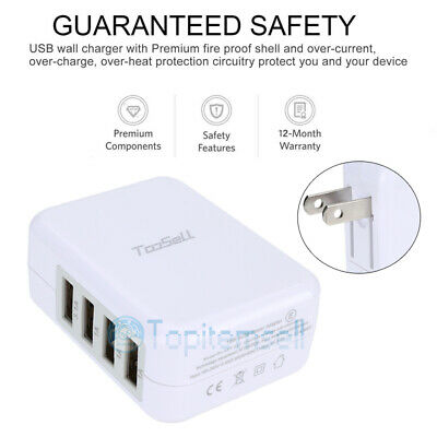 Multi-Port 4 USB HUB Portable Home Travel Wall Charger US Plug AC Power Adapter Usb Multi Plug