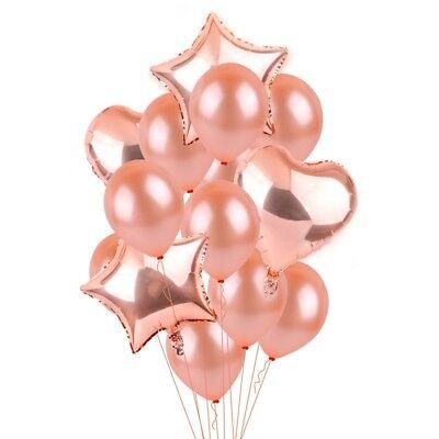 Rose Gold Series Foil Latex Balloon Set Helium Star Birthday Party Wedding Decor