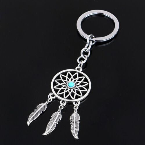 New Silver Metal Key Chain Ring Feather Tassels Dream Catche