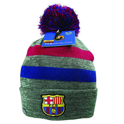 f8677bd1a86 FC Barcelona Beanie Pom Grey Cap Hat Winter New Season Lionel Messi 10