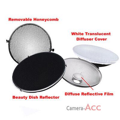 Photo Studio Flash Beauty Dish 42cm Bowens S type Honeycomb + White Diffuser UK