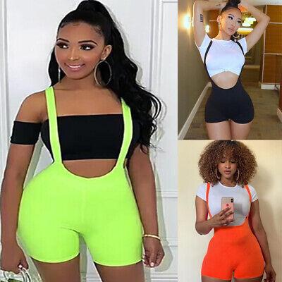 US Womens V Neck Bodycon Sexy Sleepwear Jumpsuit Shorts Romper Bodysuit -