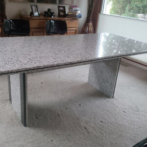 Solid Granite Dining Table - Grey / White / Black Speckled Strathcona County Edmonton Area image 3