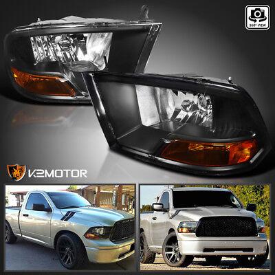 For 2009-2018 Ram 1500 2500 3500 Pickup Black Headlights w/ Turn Signal Lamps