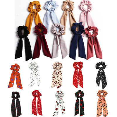 Hair Scrunchies Band with Long Ribbon Hair Tie Rope Scarf Floral Ponytail Holder
