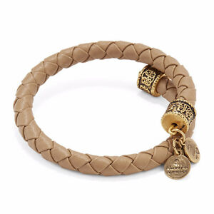 Gold Alex and Ani braided leather wrap