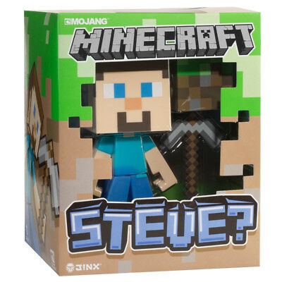 """Minecraft Steve Vinyl Toy Officially Licensed Authentic 6"""" Pickaxe Dirt Block"""