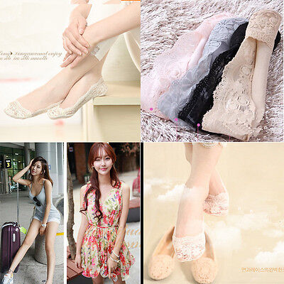 Cozy Korean Womens Lady Elastic Cotton Lace Antiskid Invisible Low Cut Socks