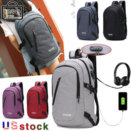 Mens Digit Anti-theft Lock USB Charging Womens Laptop Backpa