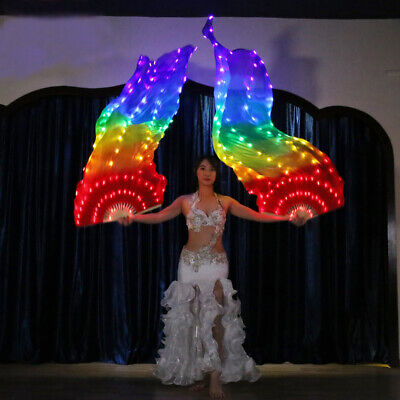 Belly Dance Accessories Performance Prop LED Rainbow Color Shiny Pleated Fan