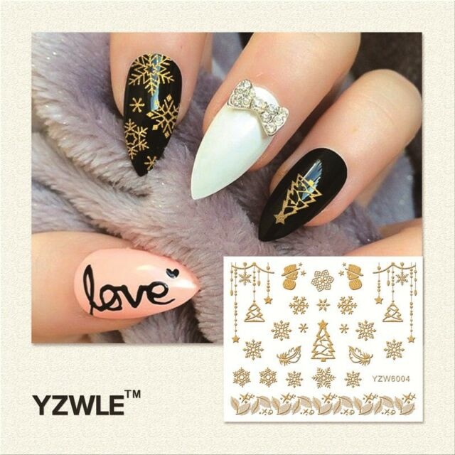 Christmas Nail Art Stickers Decals Gold Snowflakes Stars Snowman GEL ...