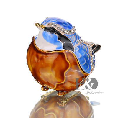 Handmade Crystal Metal Blue Jay Bird Trinket Boxes Collectibles Mother Day Gift