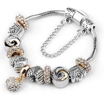 Antique Crystal Charm Bracelet (Antique Silver Crown&Angle Wings Heart Beads European Crystal Charm Bracelet )