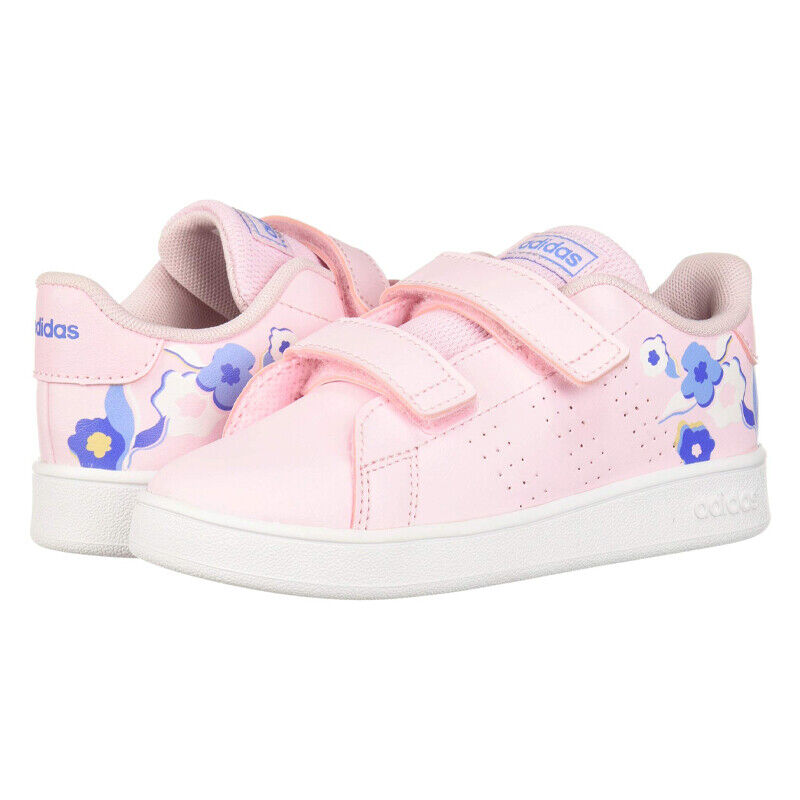 NEW Adidas Kids Advantage Girls Shoe Sneaker Clear Pink Size