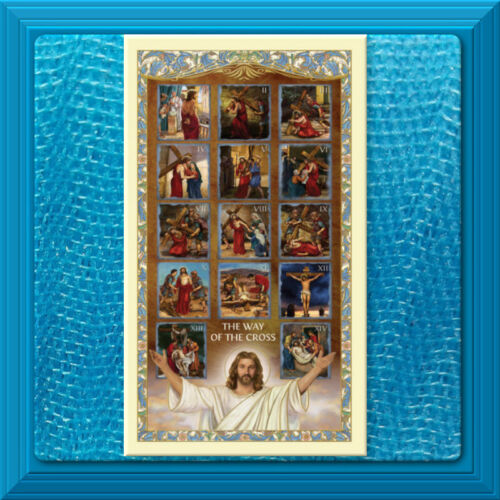 LAMINATED Holy Prayer Card GILDED GOLD ✝️ The Stations of the Cross ❤️ LAMINATED