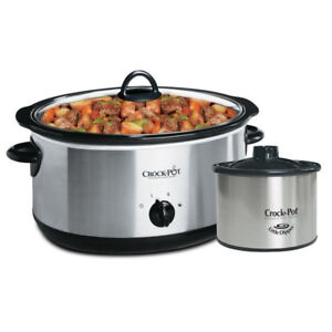 Cooker Crock Pot 8Qt Slow Cooker with Dipper, Stainless Steel