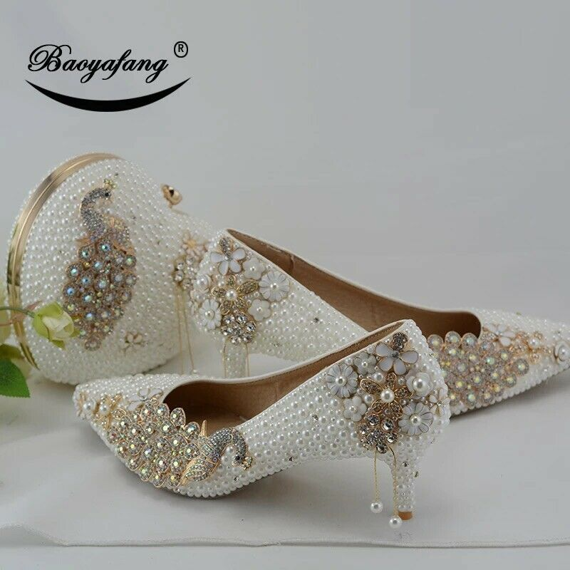 US 10# BaoYaFang White pearl Women wedding shoes with matching bags bride