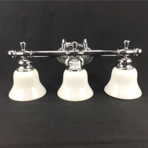Bathroom Vanity Lights 3 x 100 Watts Fixture Frosted White Shade