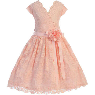 BLUSH Flower Girl Dress Birthday Wedding Recital Gown Homecoming Dance Formal