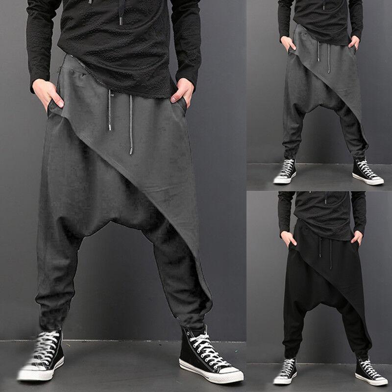 Mens Harem Dance Baggy Loose Drop Crotch Pocket Long Trouser Pants Jogger Slacks
