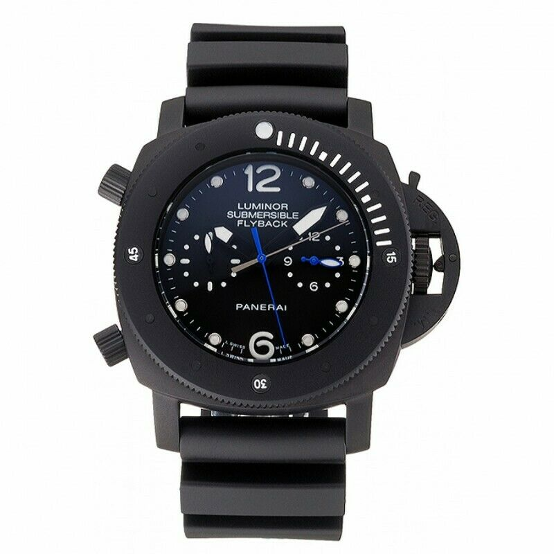 Panerai Luminor Flyback submersible GMT black dial ionized black Case Black Rubb - watch picture 1
