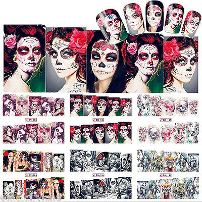 Nail Art Water Decals Sexy Skull Lady Halloween Manicure Transfer Stickers Decor](Halloween Nail Arts)