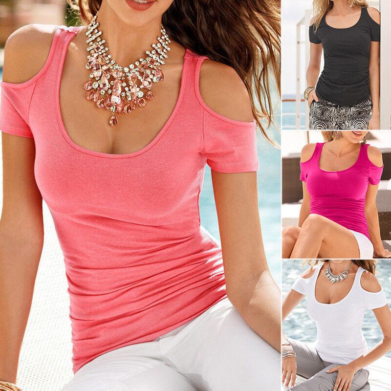 Damen Sommer T-shirts Top Kurzarm Schulterfrei Oberteil Blusen Shirt Gr. 34-48