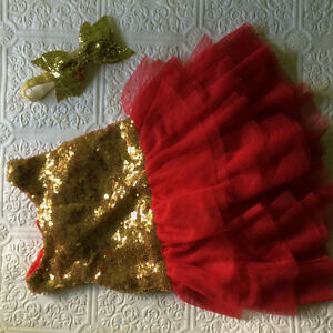 Christmas dress, toddler holiday dress, birthday dress, gold red