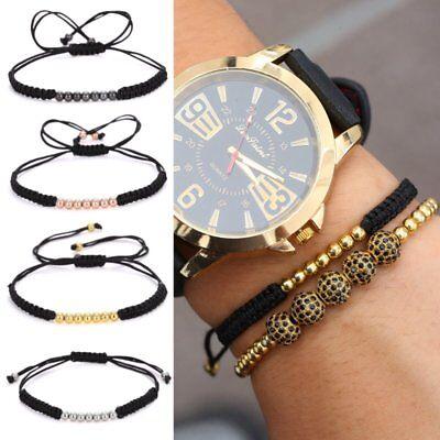 Men's Braided Macrame Bracelet 18k 4mm White Gold Plated Balls Beaded Hot