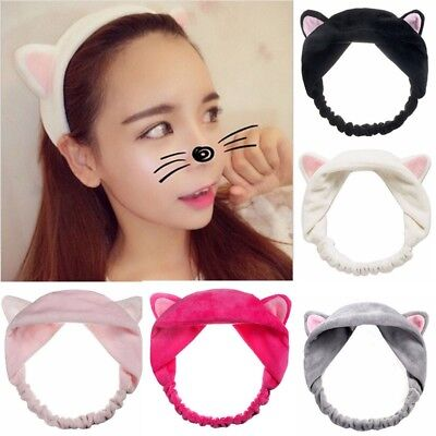 Girls Elastic Cat Ears Hair Band Soft Wrap Headband For Bath Spa Yoga Make - Cat Headband