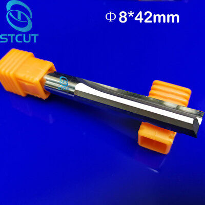 2pc 8mm Double Two Flute Straight Slot Cnc Router Bits Wood Mdf Milling 842mm