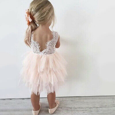 Baby Flower Girl Dress Princess Lace Tulle Tutu Backless Gown Party Dress Size 6 (Lace Flowergirl Dresses)