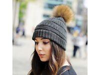 DAYMISFURRY--Knit Beanie Hat With Natural Finn Raccoon Pom Pom